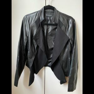 INC faux leather and knit jacket